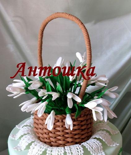 Плетение карзин из крема для торта с фото